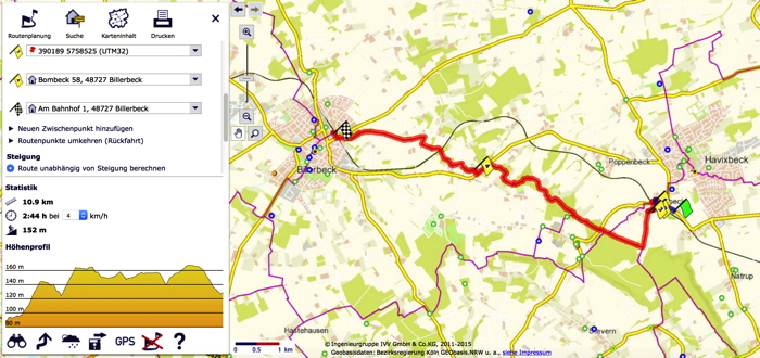 Ausschnitt aus der Internetkarte Wanderrouten in NRW